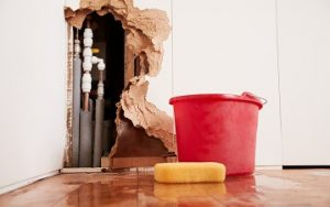burst pipes leaking through wall